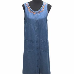 Lemon Grass Leaves Embroidered Jean Dress Size 8